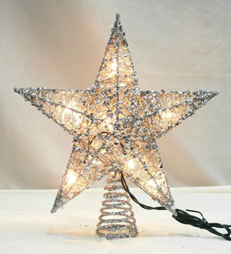 Christmas Tree Topper.Northlight 12 Lighted Glittering Silver Star Christmas Tree Topper Clear Lights