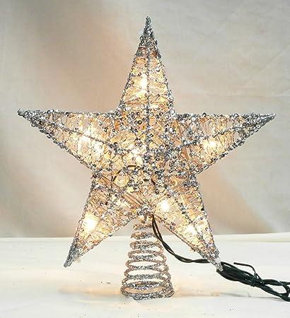 "Northlight 12"" Lighted Glittering Silver Star Christmas Tree Topper -  Clear Lights - Amazon.com: Northlight 12"