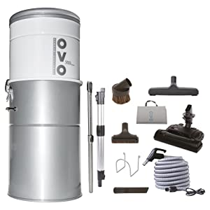 OVO Large Capacity Hybrid 700 Airwatts System Power Unit with Carpet Deluxe Accessory Kit Included Central Vacuum Cleaner,Sliver - PAK70CD