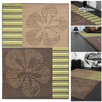 Trendiger Designer Teppich getreift mit Hawaii Blumen in Braun Grün ...