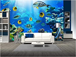 wall26 - Photo of a Tropical Fish on a Coral Reef - Removable Wall Mural | Self-Adhesive Large Wallpaper - 66x96 inches