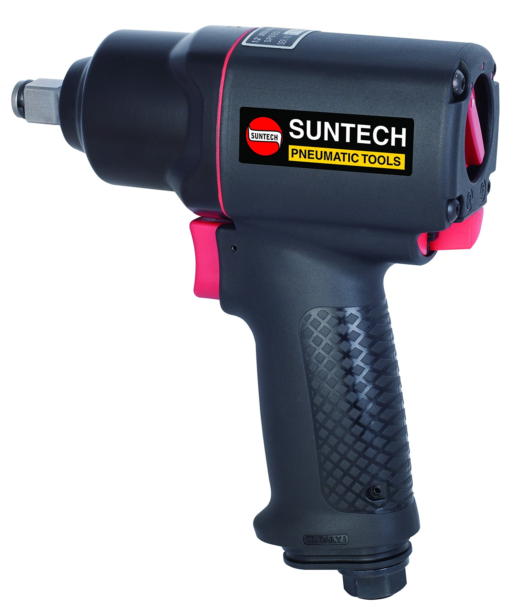 SUNTECH SM-43-4114P Mini Air Impact Wrench with Composite, Black, 1/2''