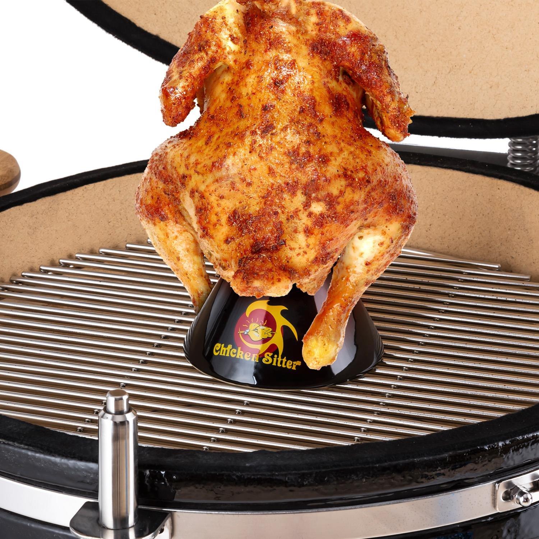 Klarstein Chicken Sitter Asador para Pollos Accesorio para Barbacoa Cerámica (deposito Aroma Interior, coccion Uniforme, Ideal para Parrillas y ...