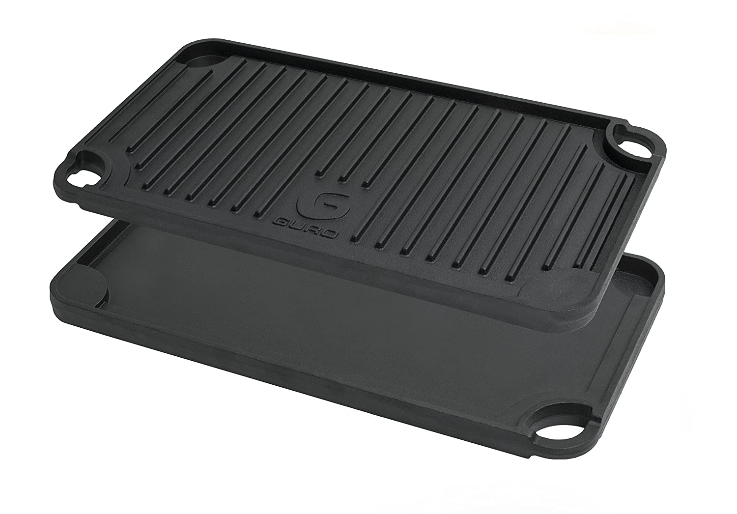 GURO Cast Iron Pre-Seasoned Double Play Griddle/Grill, Two Sizes (17
