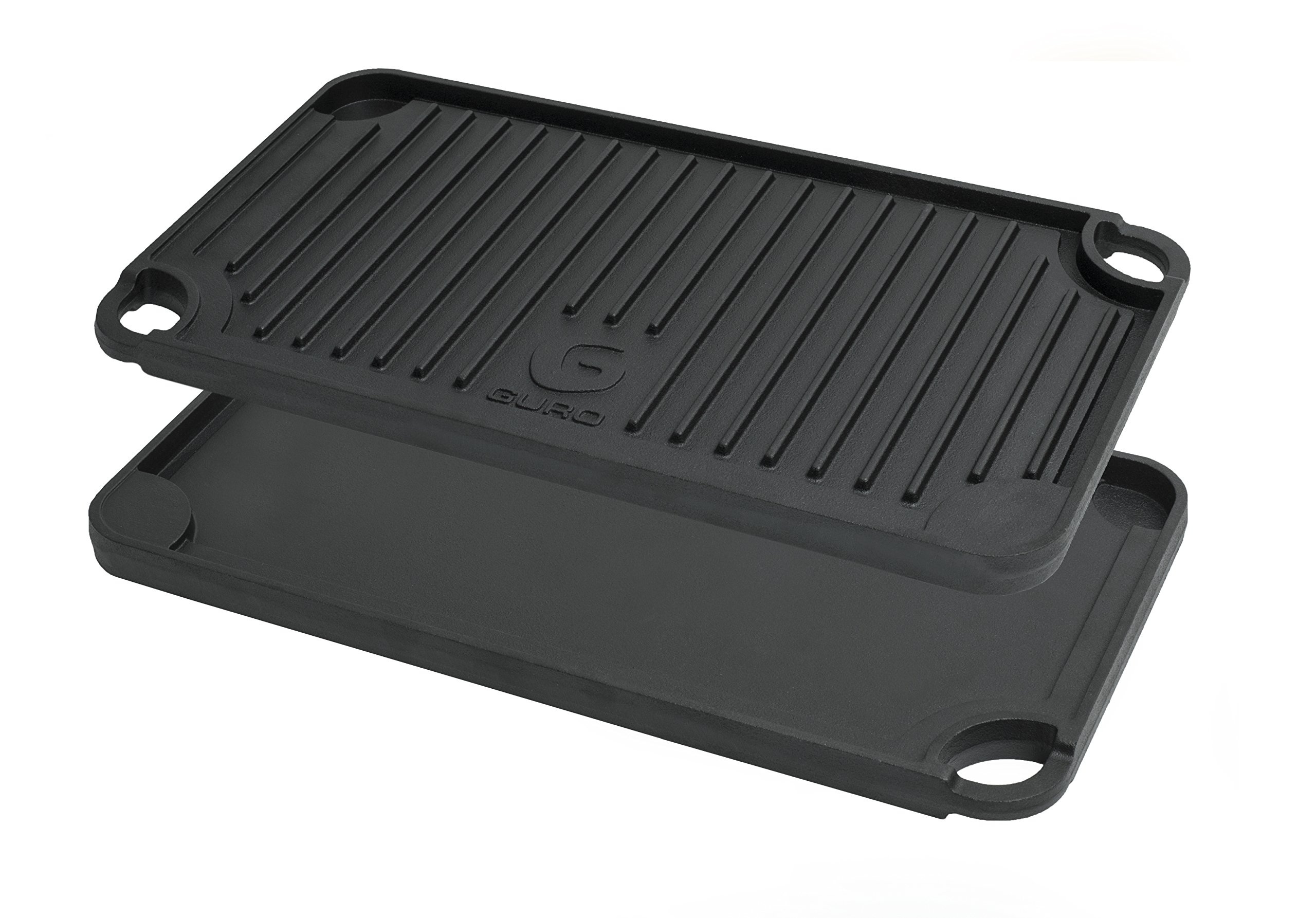 GURO Cast Iron Pre-Seasoned Double Play Griddle / Grill, Two Sizes (17'' x 9'')