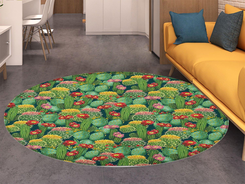Anti-slip Area Rug Cactus Flower Floor Mat Living Room Kids Bedroom Home Carpet