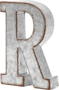 Bright Creations Rustic Letter Wall Decor - Galvanized Metal 3D Letter R Decor