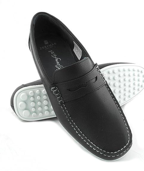 Zerimar Mocasin de Piel para Hombre Zapatos Hombre Mocasines Calzado Hombre Vestir Color Azul Marino Talla 40: Amazon.es: Zapatos y complementos