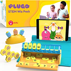 Plugo STEM Wiz Pack by PlayShifu - Count, Letters & Link Kits | Math, Words, Magnetic Blocks, Puzzles & Games | Ages 5-10 Years STEM Toys | Educational Gift Boys & Girls (App Based)