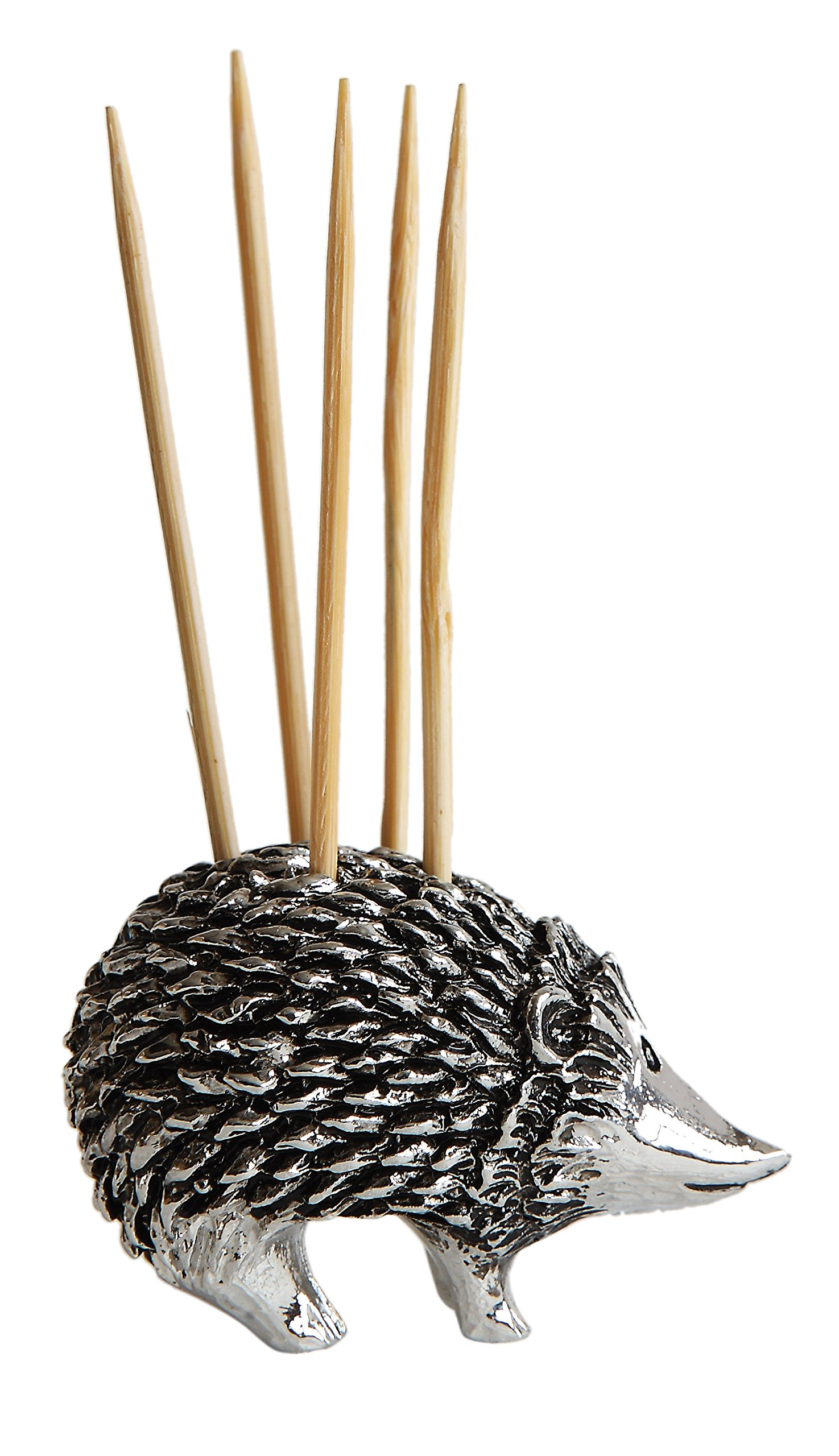 Creative Co-Op Hedgehog Toothpick Holder with Toothpicks, Silver by Creative Co-op