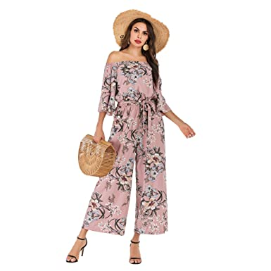 low priced purchase genuine sale online Women's Summer Floral Off Shoulder Ruffled Short Sleeve High Waist Wide Leg  Pants Casual Loose Jumpsuit Romper