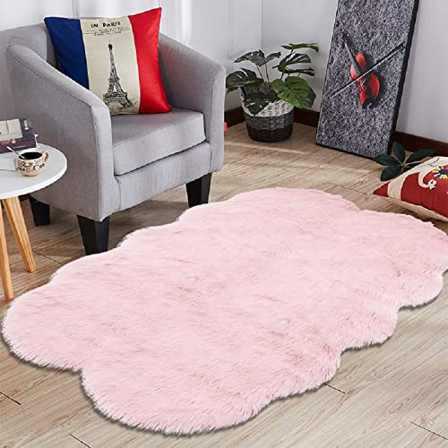 HEBE Large Faux Fur Sheepskin Area Rugs 4ft x 6ft Luxury Fluffy Rugs Bedroom Furry Carpet Bedside Children Play Princess Room Decor Rug
