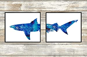 Shark Art Prints Set of 2 8x10 Prints - Unframed - Beautiful Blue Room Wall Decor Home Decoration Interior Design