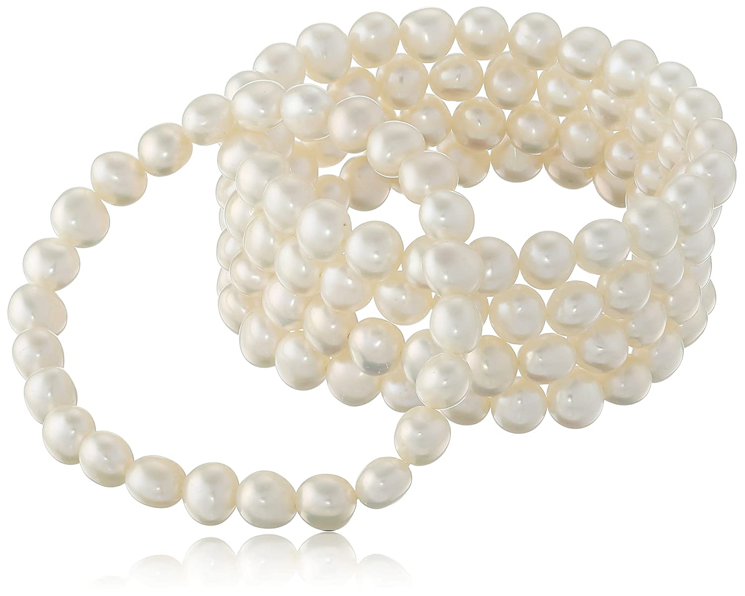 AuraPearl Set of Five Chinese Freshwater Cultured Pearl (7-8 mm) Stretch Bracelets, 7.5 7.5 Amazon Collection MCS3925WH