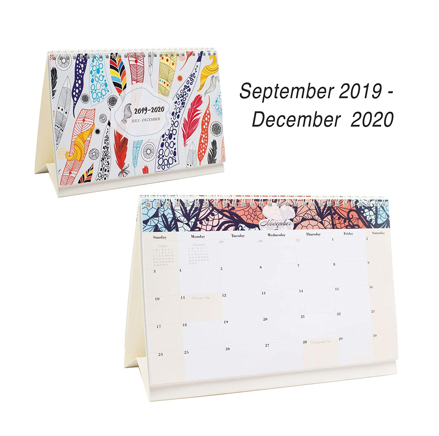 Desk Calendar From September 2019 Through December 2020 - 16 Months Colour Flip Calendar - Monthly Calendar Planner - Daily Planner - Desktop Calendar 2019-2020 - Tent Office Calendar