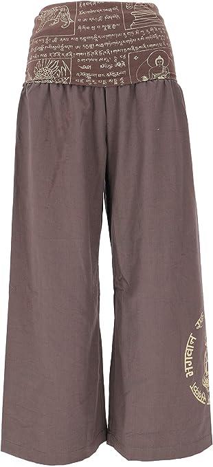 Guru-Boutique - Pantalón de yoga con diseño de Buddha Goa, pantalones de yoga, pantalones de yoga, pantalones de yoga, pantalones largos, color negro, algodón, pantalones largos capuchino XL: Amazon.es: Ropa y accesorios