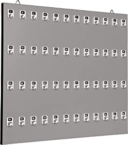Key Holder, Key Rack #48PWE with 48 Extra Space Numbered Hook for Car Keys with Remote Control (48 Set of Tag & Ring Included) - Made in USA