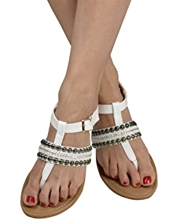 64b9fb375ad Peach Couture Pearl Studded Ankle Wrap Strappy Buckle Gladiator Sandals