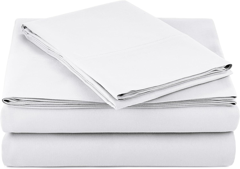 AmazonBasics Light-Weight Microfiber Sheet Set - Twin XL, Bright White, 4-Pack