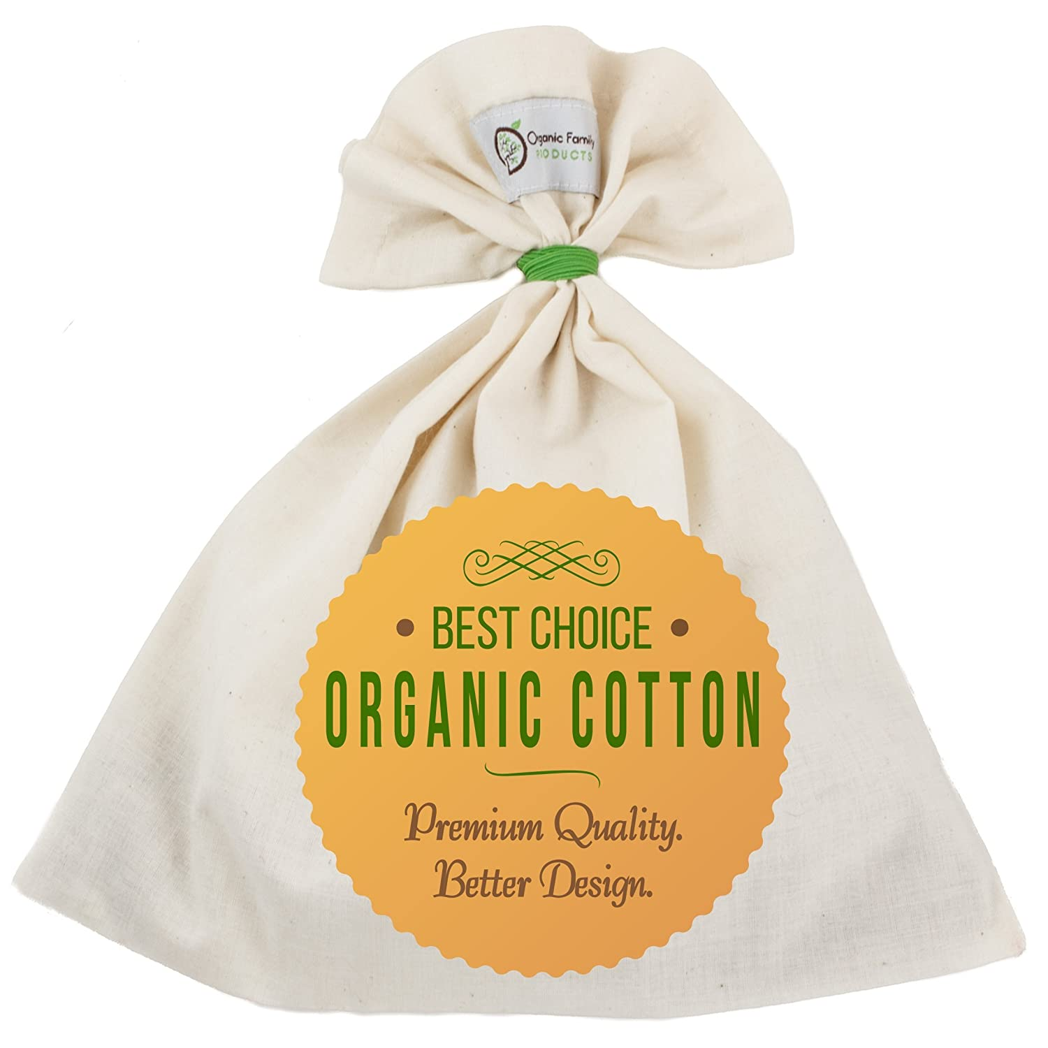 Organic Cotton Nut Milk Bag - Super Smooth Almond Milk Maker - No Seam Bottom, Drawstring Free - Professional Reusable Food Strainer for Yogurt, Cheese, Juice, Tea, Coffee - Natural & Eco-Friendly