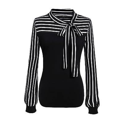 COSBEAUTY Women Tie-bow Neck Striped Long Sleeve Stretch Bowknot Shirt