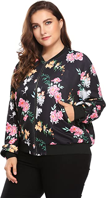Plus Size Womens Floral Printed Pattern Long Sleeve Lightweight Bomber Jacket