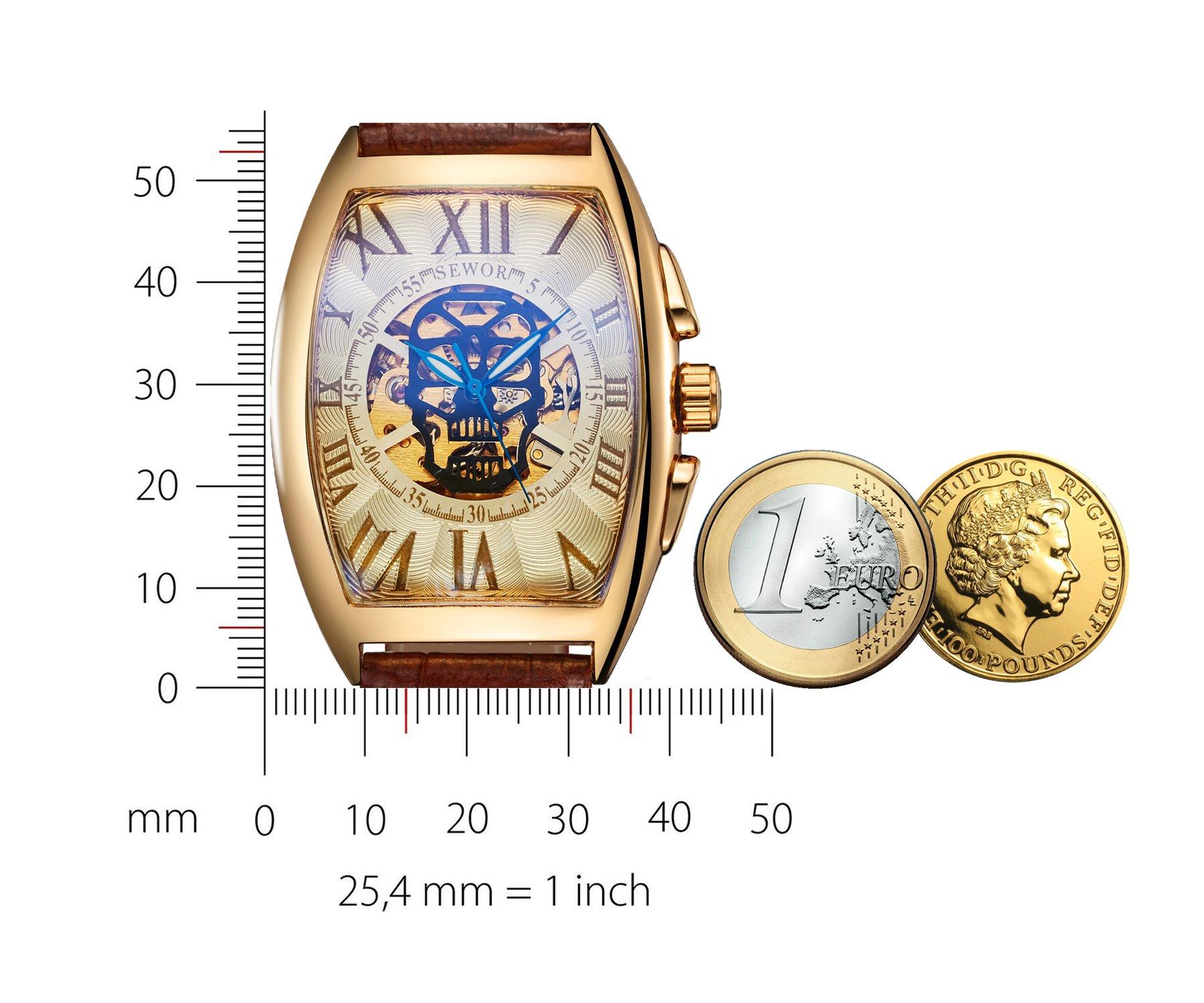 Sewor lusso uomo cranio testa meccanico automatico orologio da polso con fascia in vetro rivestimento blu (Oro & Bianca)