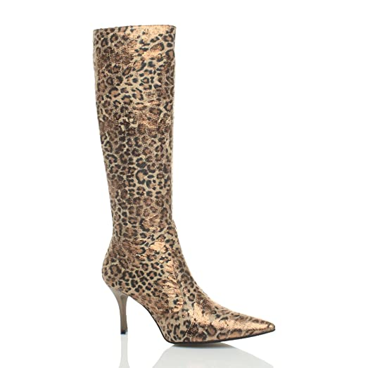Women's Mid Heel Pointed Calf Boots Size