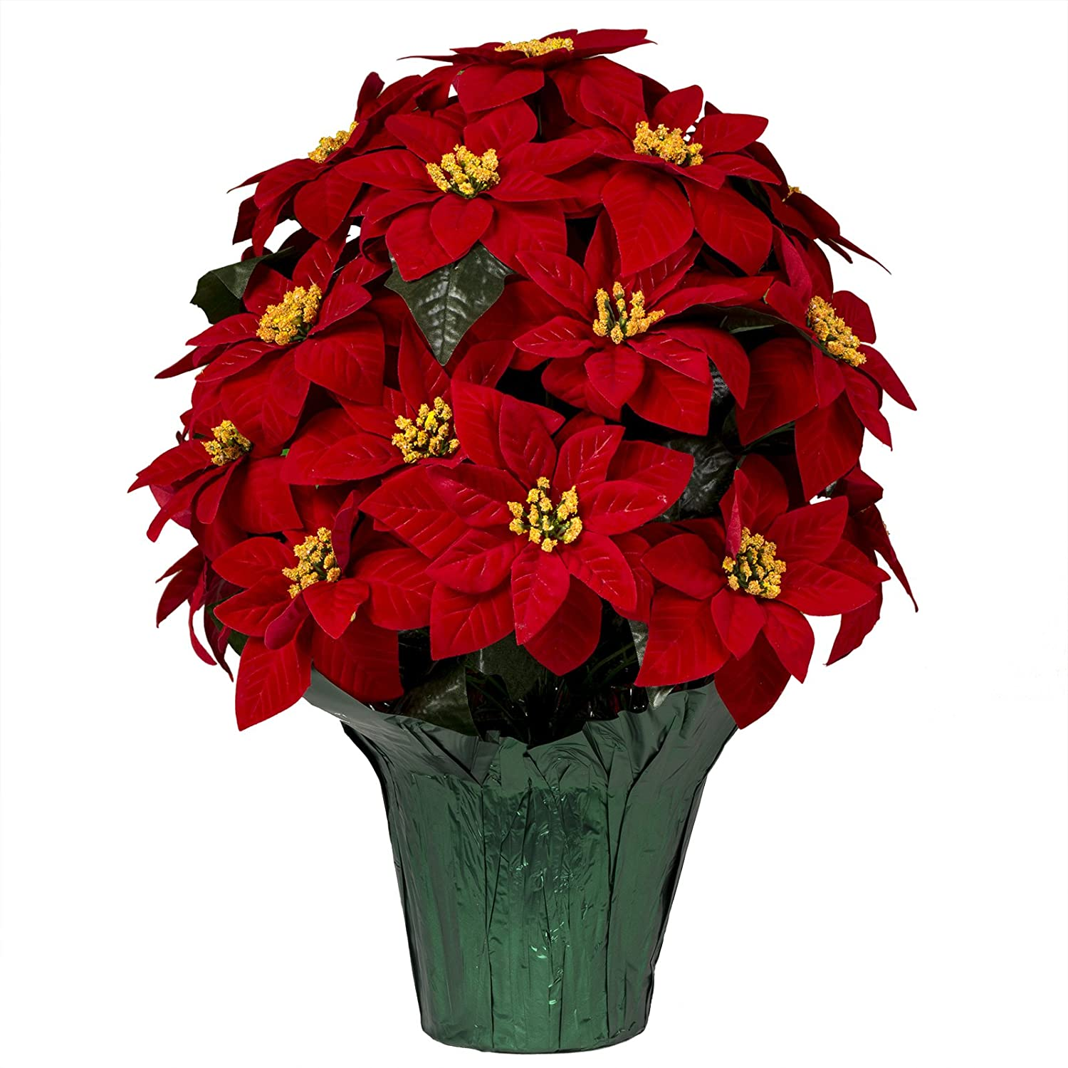 Amazon Artificial Red Poinsettias Weighted Potted Bouquet 20