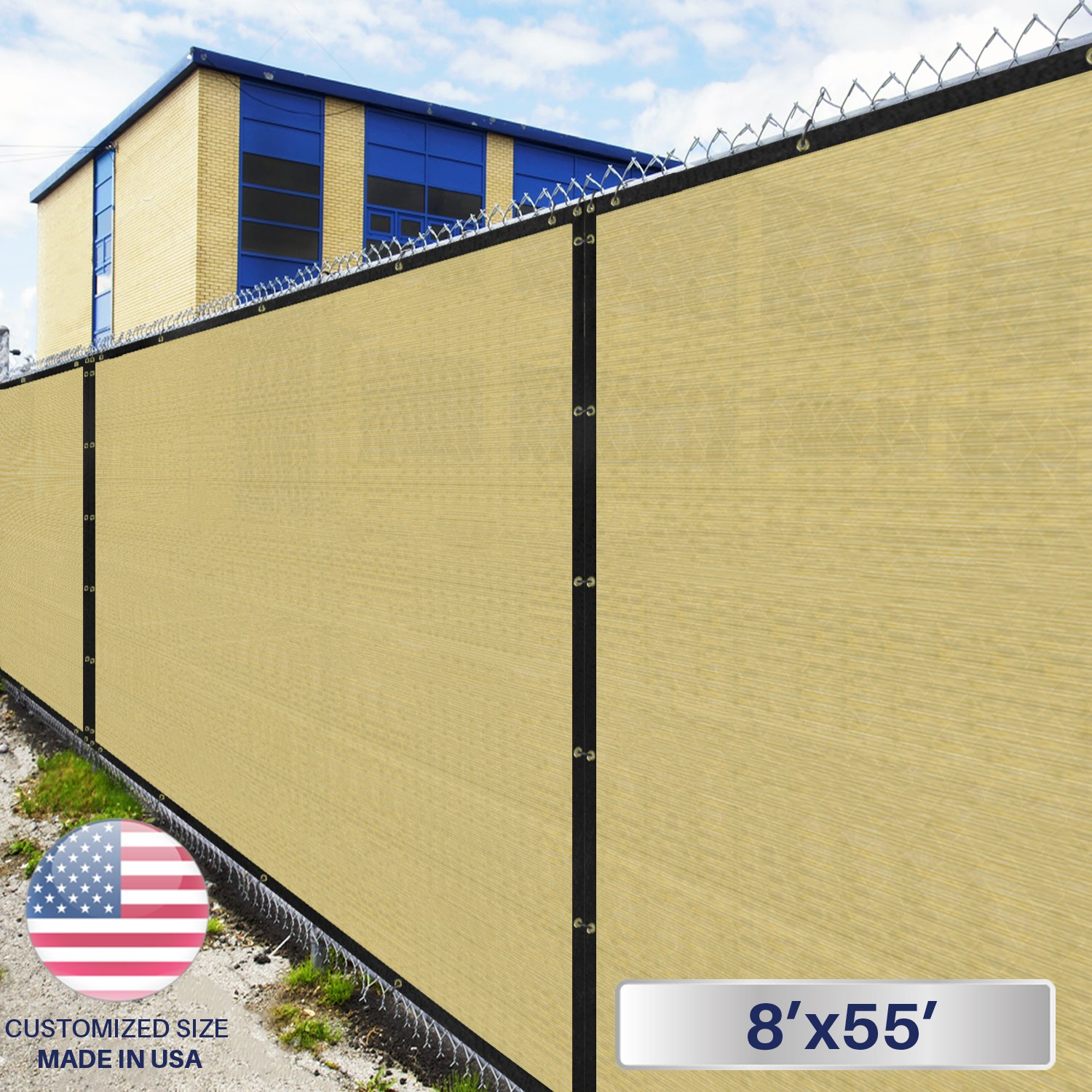 8' x 55' Privacy Fence Screen in Beige Tan with Brass Grommet 85% Blockage Windscreen Outdoor Mesh Fencing Cover Netting 150GSM Fabric - Custom Size