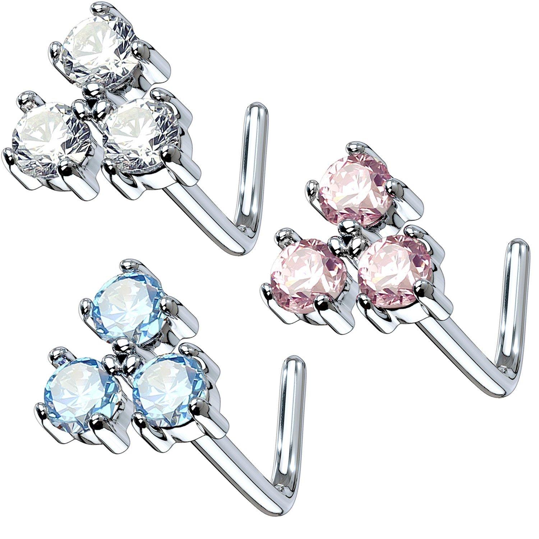 BodyJ4You 3PCS Set Nose Ring 20G L-Shape Bend Stud Flower CZ Surgical Steel Nostril Body Piercing Pack