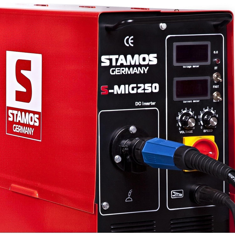 Stamos Germany S-MIG 250 Soldadora de Hilo Inverter Equipo de Soldadura MIG MAG (250A, 400 V, Ciclo de Trabajo 60%, 0,5mm-8mm, 4 rodillos, incl.