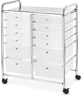 EZ FunShell 12 Drawer Bins Rolling Cart Organizer Storage Semitransparent