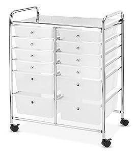 Whitmor Chrome and Plastic 12-Drawer Storage Cart
