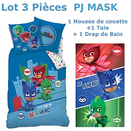 Decokids PJ Mask – Lot 3pcs: Funda de Edredón (140 x 200) +