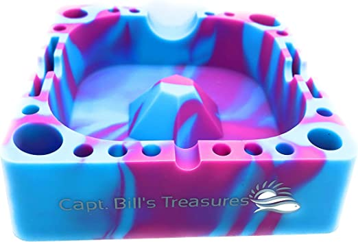 """4.3/"""" Premium Silicone AshTray With Comparment for Various Tools BLUE CAMO"""