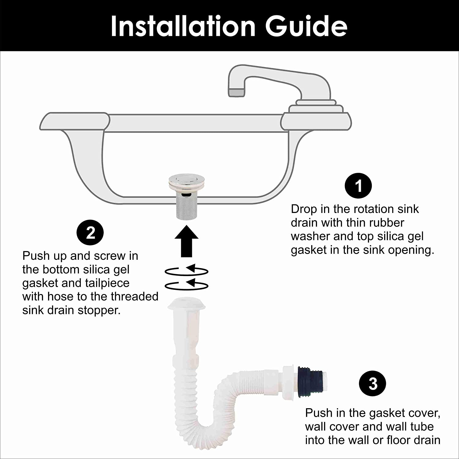 Universal Complete Bathroom Sink Flexible Water Drain Pipe Kit W Overflow Stainless Steel Stopper Adjustable Expandable Plastic White Hose Snappy P Trap Plumbing Fitting For Vessel Vanity Basin Bathroom Sink Bathtub