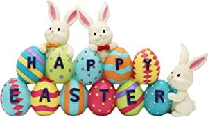 Happy Easter Tabletop Decoration Easter Figurine Bunny and Egg Centerpiece Decoration for Easter Season