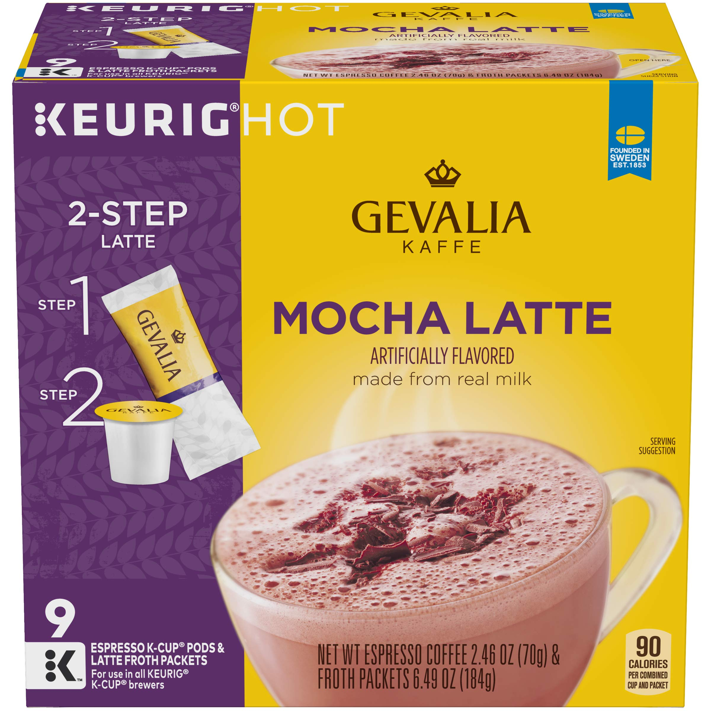 Gevalia Mocha Latte Espresso K-Cup Coffee Pods & Froth Packets (9 Pods and Froth Packets)