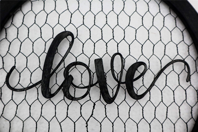 Parisloft Love Round Metal Wall Hanging Sign Word Love on Chicken Wire Decor