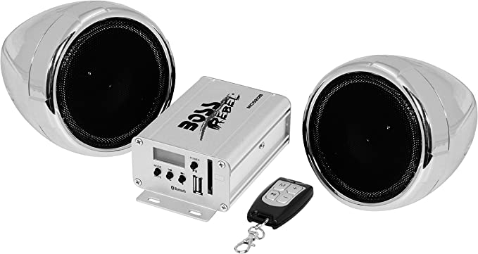 Multi-Function Remote Control BOSS Audio MCBK520B Bluetooth Bluetooth Amplifier Weatherproof Speaker And Amplifier Sound System Two 3 Inch Speakers Ideal For Motorcycles//ATV and 12 Volt