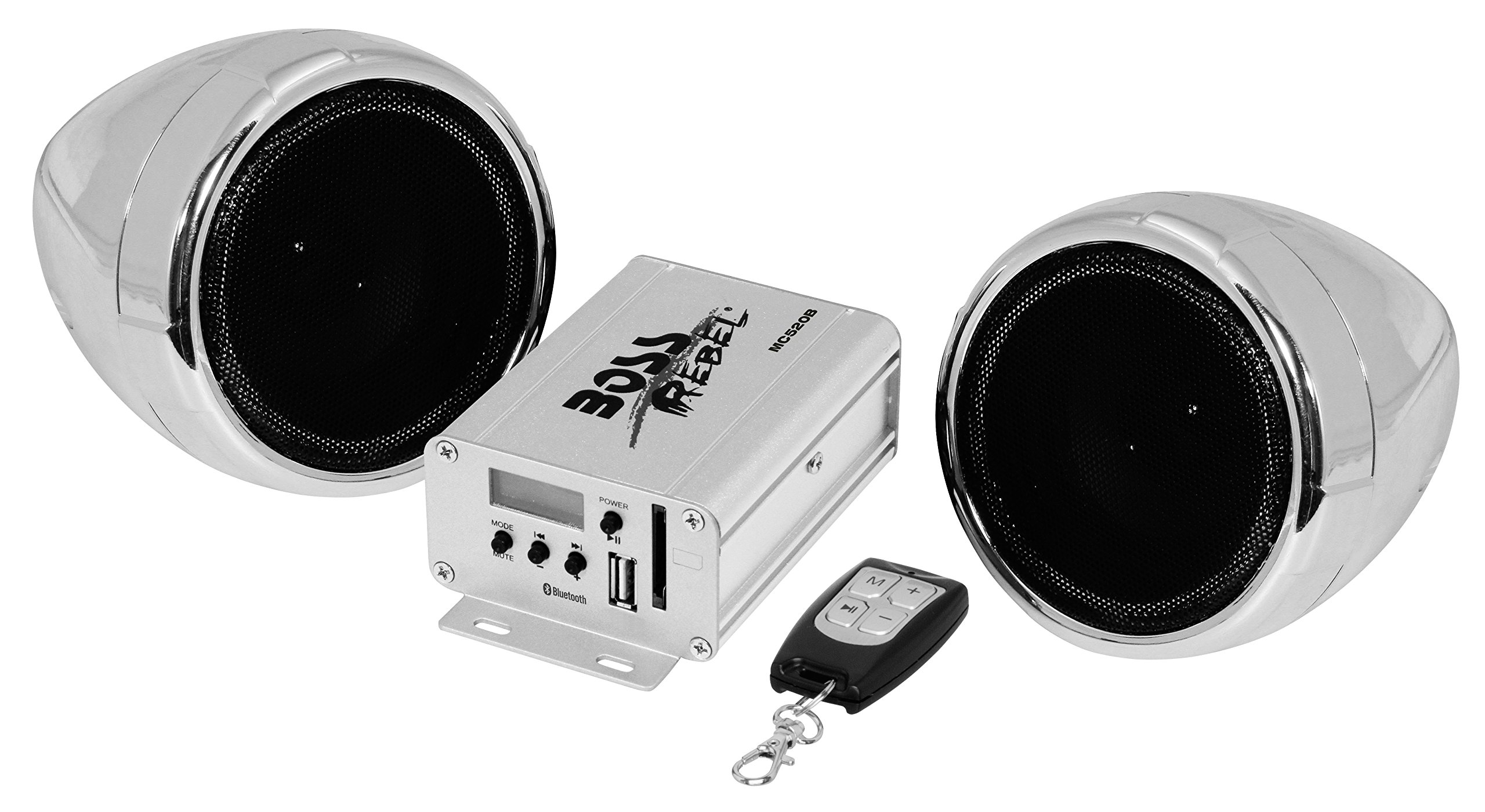 BOSS Audio Systems MC520B Bluetooth, Weatherproof Speaker And Amplifier Sound System, 2 3 Inch Speakers, Bluetooth Amplifier, Multi-Function Remote Control, Ideal For Motorcycles ATV and 12 Volt by BOSS Audio Systems