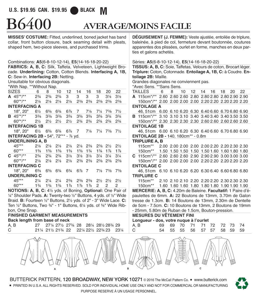 Butterick Patterns MCCALL s Patterns 6400 E5 Patrones de Costura ...