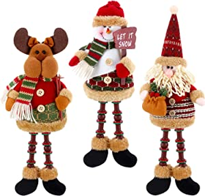 3 Pieces Christmas Sitting Santa Claus Snowman Reindeer Christmas Ornament Long Legs Table Fireplace Decor Home Decoration Christmas Figurines Plush (Santa Claus, Snowman, Elk)