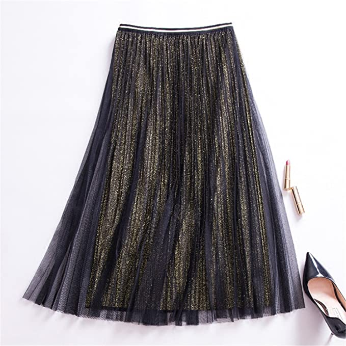 181266347 Nice Spring Metallic Long Pleated Gauze Skirts High Waist Golden/Silver  Starry A-Line Mid-Calf Long Summer Skirts at Amazon Women's Clothing store:
