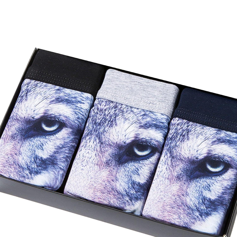 3D Algodón BUKUANG Ropa Interior De Los Hombres De La Cintura Del Medio 3 Pack,Three-piece-XXL