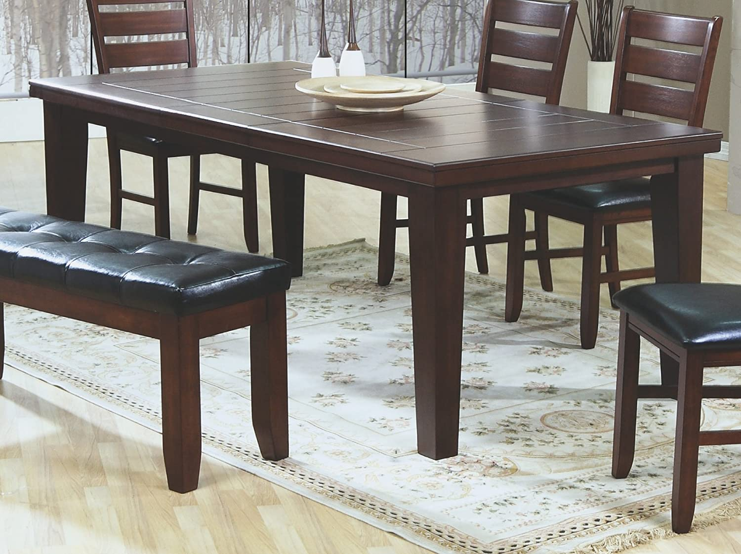 """Amazon Coaster Dining Table With 18"""" leaf in Dark Oak Finish"""