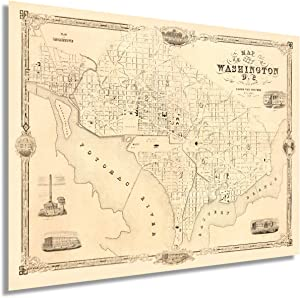 Historix 1850 Washington DC Vintage Map - 18x24 Inch Map of Washington DC Wall Art - Washington DC Map Art - Washington DC Map Poster - Map Washington DC Decor - DC Map Wall Art (2 sizes)