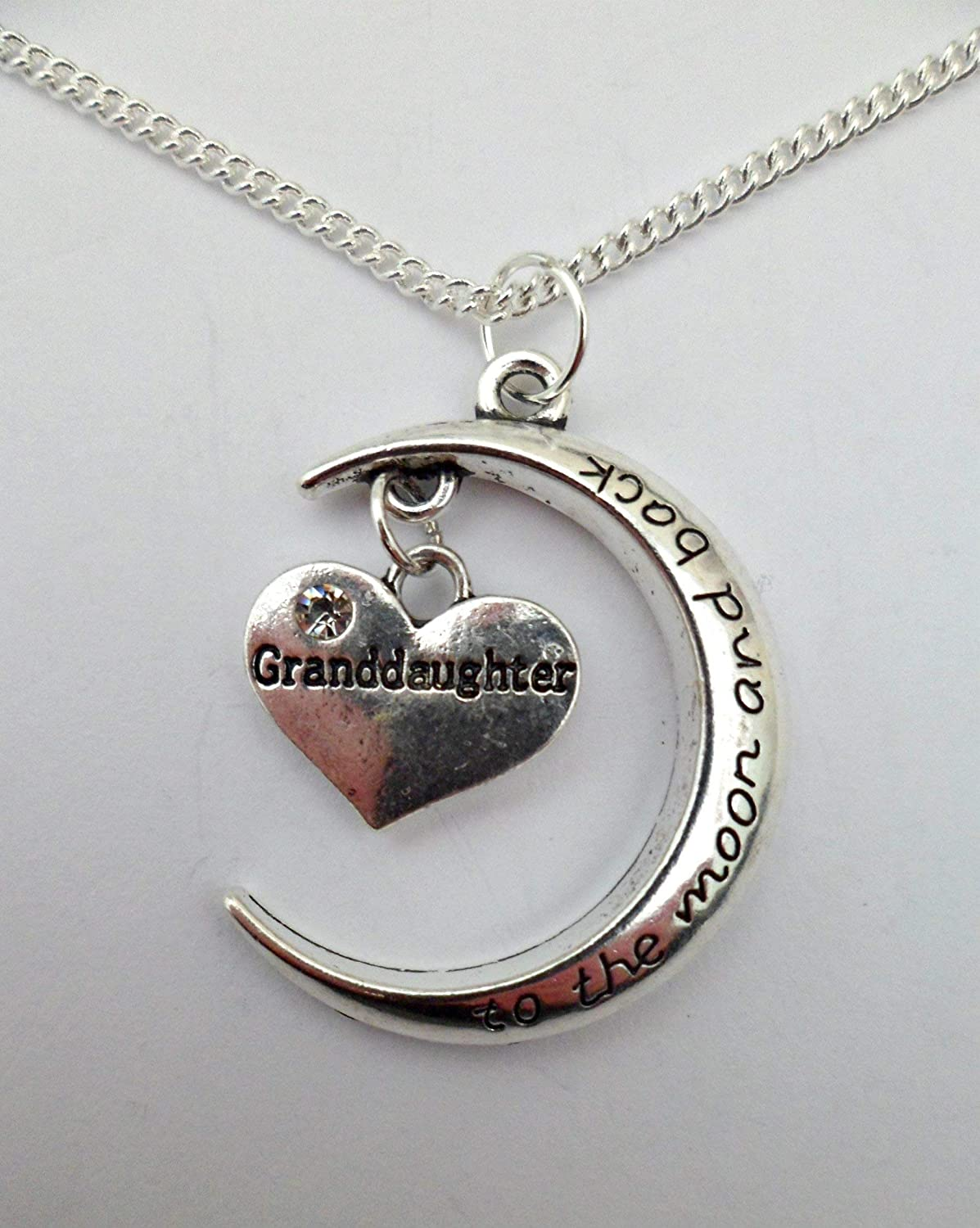 SILVER NECKLACE I Love You To The Moon /& Back Granddaughter Gem Heart