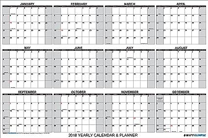 amazoncom swiftglimpse wall calendar 2018 yearly 24 x 36 horizontal 12 months laminated erasable hot magenta breast cancer awareness edition w